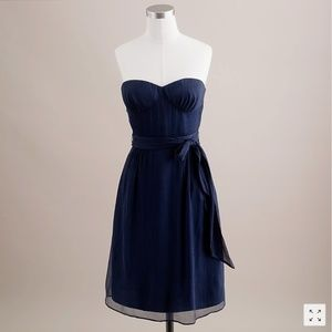 J Crew Navy Slik Chiffon Strapless Cyndee Dress